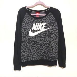 Nike || Leopard Print Logo Sweatshirt Size M